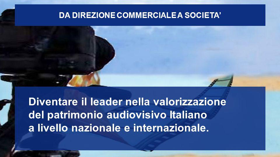 DA DIREZIONE COMMERCIALE A SOCIETA' Diventare il leader nella valorizzazione del patrimonio audiovisivo Italiano a livello nazionale e internazionale.