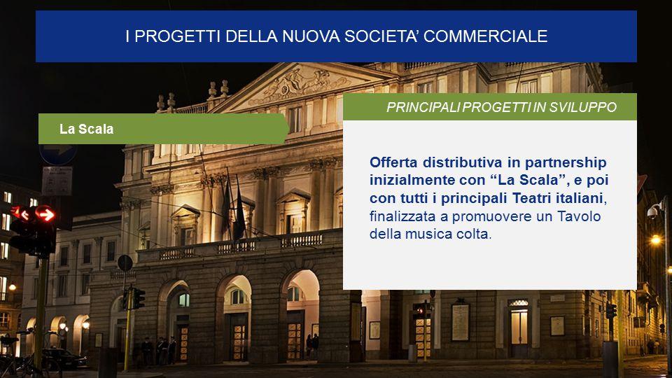I PROGETTI DELLA NUOVA SOCIETA' COMMERCIALE PRINCIPALI PROGETTI IN SVILUPPO Offerta distributiva in partnership inizialmente con La Scala , e poi con tutti i principali Teatri italiani, finalizzata a promuovere un Tavolo della musica colta.