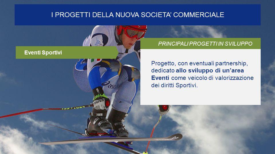 I PROGETTI DELLA NUOVA SOCIETA' COMMERCIALE PRINCIPALI PROGETTI IN SVILUPPO Progetto, con eventuali partnership, dedicato allo sviluppo di un'area Eventi come veicolo di valorizzazione dei diritti Sportivi.