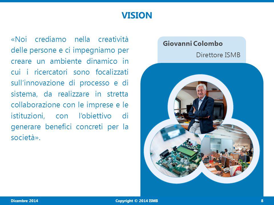Dicembre 2014 8 Copyright © 2014 ISMB VISION «Noi crediamo nella creatività delle persone e ci impegniamo per creare un ambiente dinamico in cui i ricercatori sono focalizzati sull'innovazione di processo e di sistema, da realizzare in stretta collaborazione con le imprese e le istituzioni, con l'obiettivo di generare benefici concreti per la società».