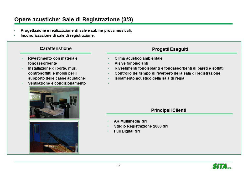 10 Opere acustiche: Sale di Registrazione (3/3) Progettazione e realizzazione di sale e cabine prova musicali; Insonorizzazione di sale di registrazione.