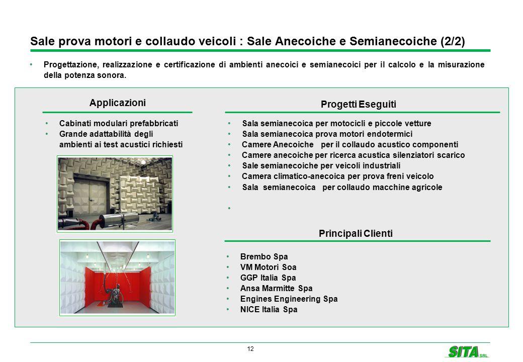 12 Sale prova motori e collaudo veicoli : Sale Anecoiche e Semianecoiche (2/2) Progettazione, realizzazione e certificazione di ambienti anecoici e semianecoici per il calcolo e la misurazione della potenza sonora.