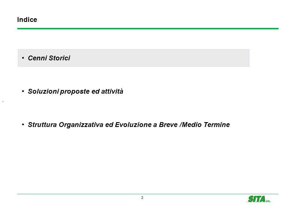 2 Indice ' Cenni Storici Soluzioni proposte ed attività Struttura Organizzativa ed Evoluzione a Breve /Medio Termine
