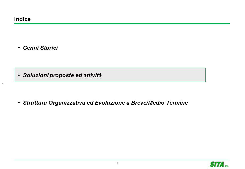 4 Indice ' Cenni Storici Soluzioni proposte ed attività Struttura Organizzativa ed Evoluzione a Breve/Medio Termine
