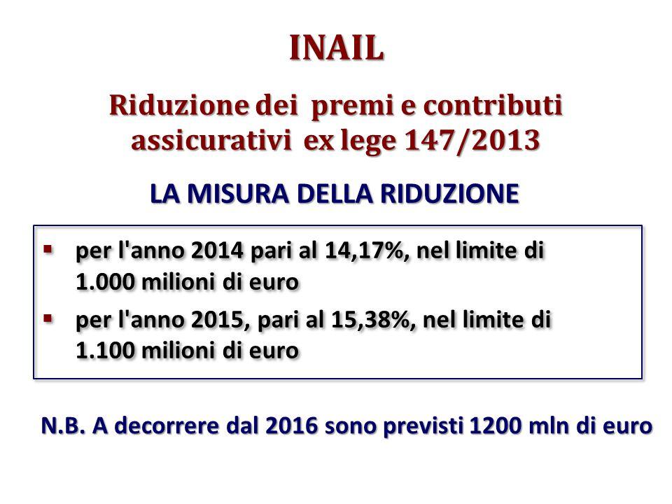 Riduzione dei premi e contributi assicurativi ex lege 147/2013  per l anno 2014 pari al 14,17%, nel limite di 1.000 milioni di euro  per l anno 2015, pari al 15,38%, nel limite di 1.100 milioni di euro  per l anno 2014 pari al 14,17%, nel limite di 1.000 milioni di euro  per l anno 2015, pari al 15,38%, nel limite di 1.100 milioni di euro INAIL LA MISURA DELLA RIDUZIONE N.B.