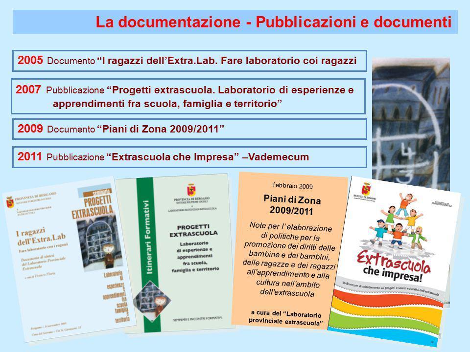 11 La documentazione - Pubblicazioni e documenti 2007 Pubblicazione Progetti extrascuola.