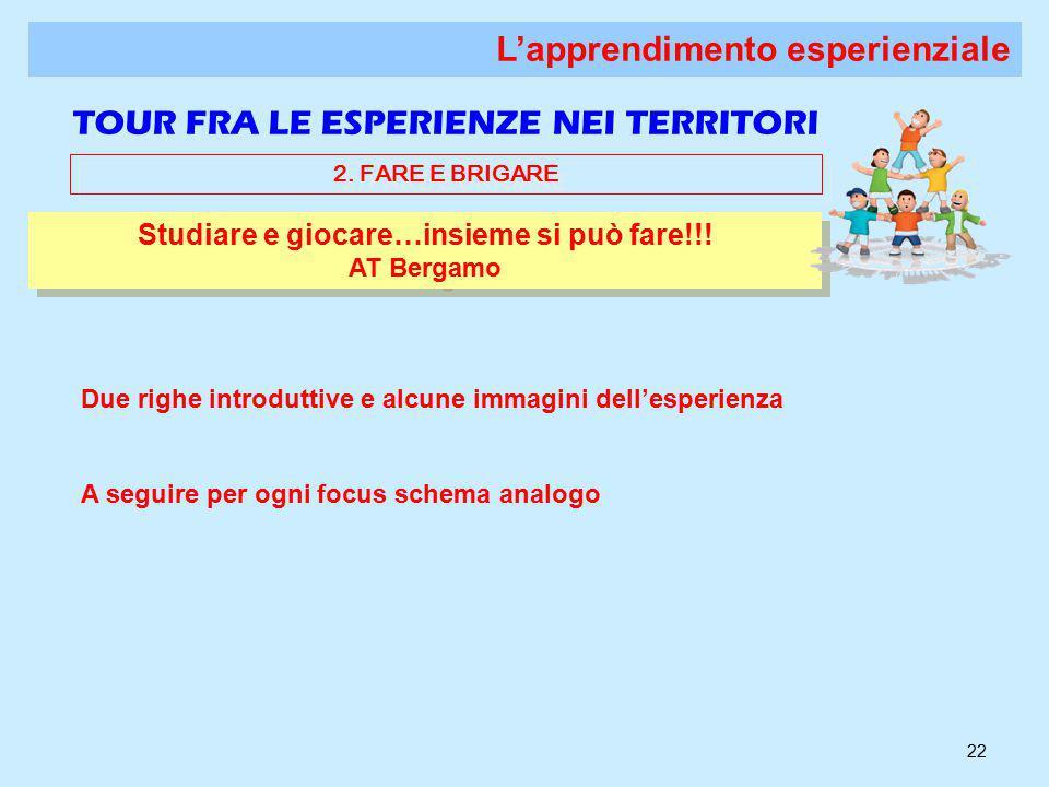 22 Studiare e giocare…insieme si può fare!!. AT Bergamo Studiare e giocare…insieme si può fare!!.