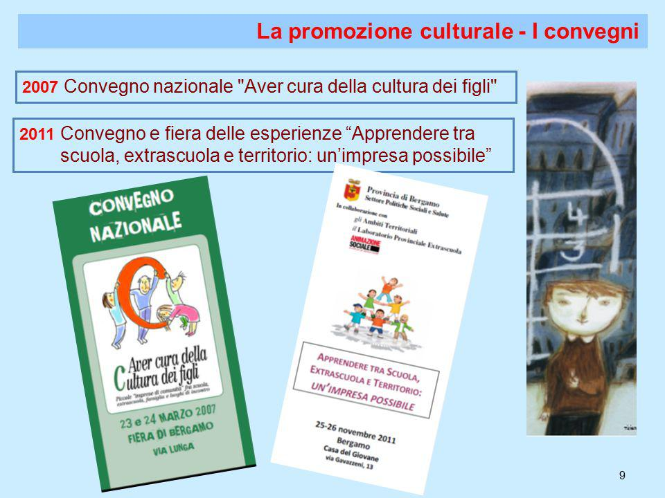 9 La promozione culturale - I convegni 2007 Convegno nazionale Aver cura della cultura dei figli 2011 Convegno e fiera delle esperienze Apprendere tra scuola, extrascuola e territorio: un'impresa possibile