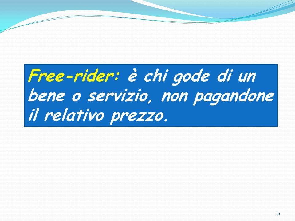 11 Free-rider: è chi gode di un bene o servizio, non pagandone il relativo prezzo.