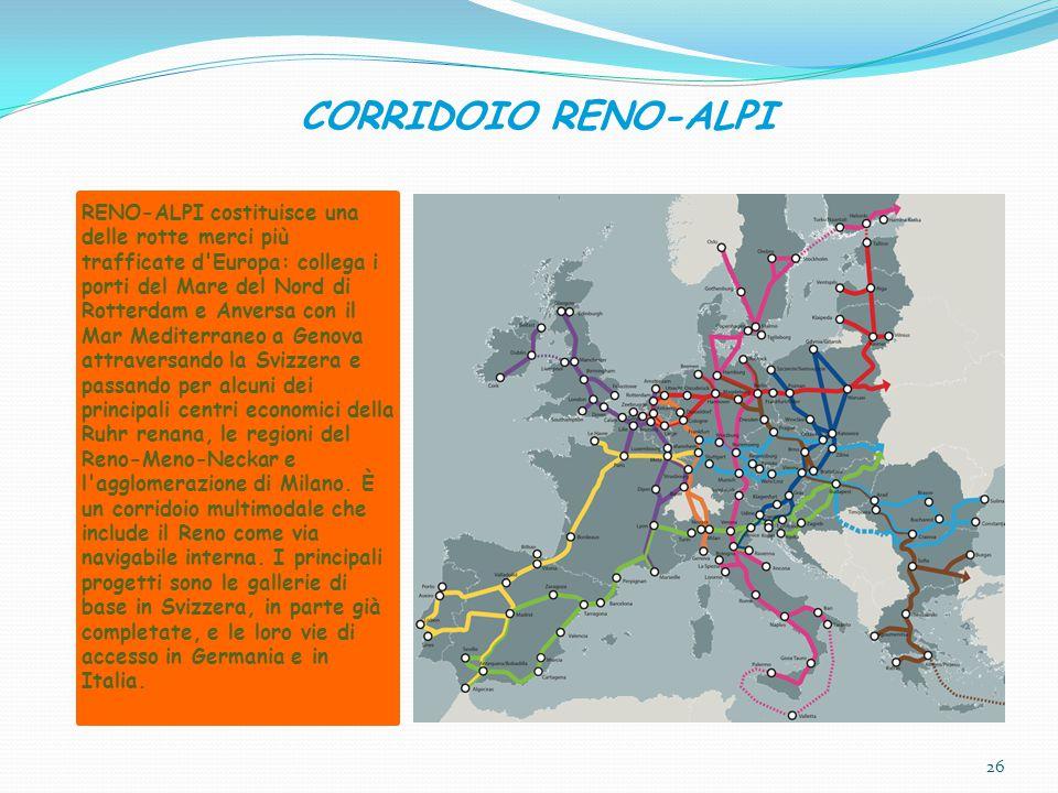 CORRIDOIO RENO-ALPI RENO-ALPI costituisce una delle rotte merci più trafficate d Europa: collega i porti del Mare del Nord di Rotterdam e Anversa con il Mar Mediterraneo a Genova attraversando la Svizzera e passando per alcuni dei principali centri economici della Ruhr renana, le regioni del Reno-Meno-Neckar e l agglomerazione di Milano.