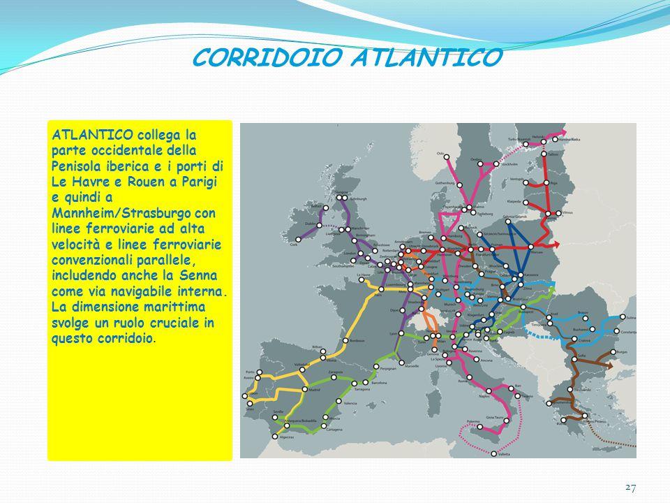 CORRIDOIO ATLANTICO ATLANTICO collega la parte occidentale della Penisola iberica e i porti di Le Havre e Rouen a Parigi e quindi a Mannheim/Strasburgo con linee ferroviarie ad alta velocità e linee ferroviarie convenzionali parallele, includendo anche la Senna come via navigabile interna.