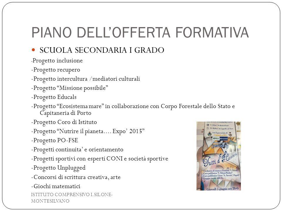 PIANO DELL'OFFERTA FORMATIVA SCUOLA SECONDARIA I GRADO - Progetto inclusione -Progetto recupero -Progetto intercultura /mediatori culturali -Progetto