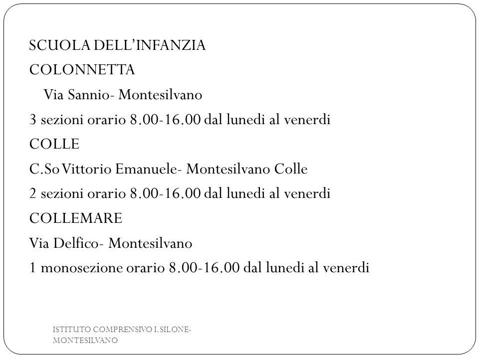 SCUOLA DELL'INFANZIA COLONNETTA Via Sannio- Montesilvano 3 sezioni orario 8.00-16.00 dal lunedi al venerdi COLLE C.So Vittorio Emanuele- Montesilvano