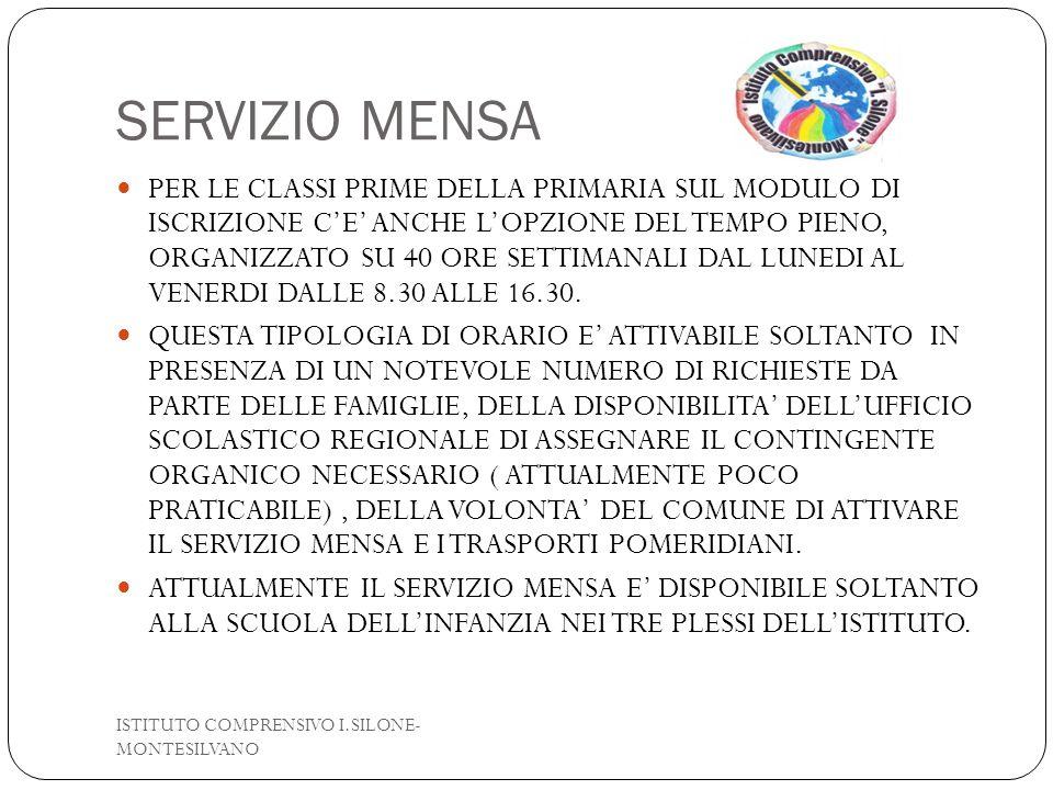 ISCRIZIONI ISTITUTO COMPRENSIVO I.SILONE- MONTESILVANO LE ISCRIZIONI SONO APERTE DAL 15/01/2015 AL 15/02/2015 L'ISCRIZIONE ALLA SCUOLA DELL'INFANZIA SI EFFETTUA SU MODELLO CARTACEO DISPONIBILE IN SEGRETERIA L'ISCRIZIONE ALLE CLASSI PRIME SCUOLA PRIMARIA E SECONDARIA DI I GRADO SI EFFETTUANO ESCLUSIVAMENTE ON LINE SUL SITO DEL MIUR- ISCRIZIONI ON LINE, OPPURE DAL LINK PRESENTE NEL NOSTRO SITO WEB: www.icsilonemontesilvano.gov.it PER SUPPORTO ALLE ISCRIZIONI L'UFFICIO DI SEGRETERIA E' A DISPOSIZIONE DEI GENITORI : DAL LUNEDI AL SABATO DALLE 11.30 ALLE 13.30 LUNEDI,MARTEDI,GIOVEDI,VENERDI DALLE 15.30 ALLE 17.00