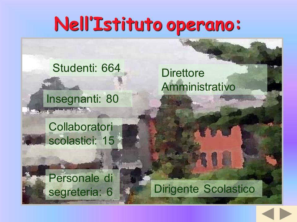 Nell'Istituto Nell'Istituto operano: Studenti: 664 Insegnanti: 80 Collaboratori scolastici: 15 Personale di segreteria: 6 Direttore Amministrativo Dir