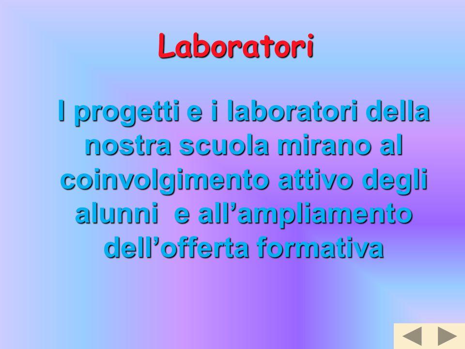 I progetti e i laboratori della nostra scuola mirano al coinvolgimento attivo degli alunni e all'ampliamento dell'offerta formativa Laboratori