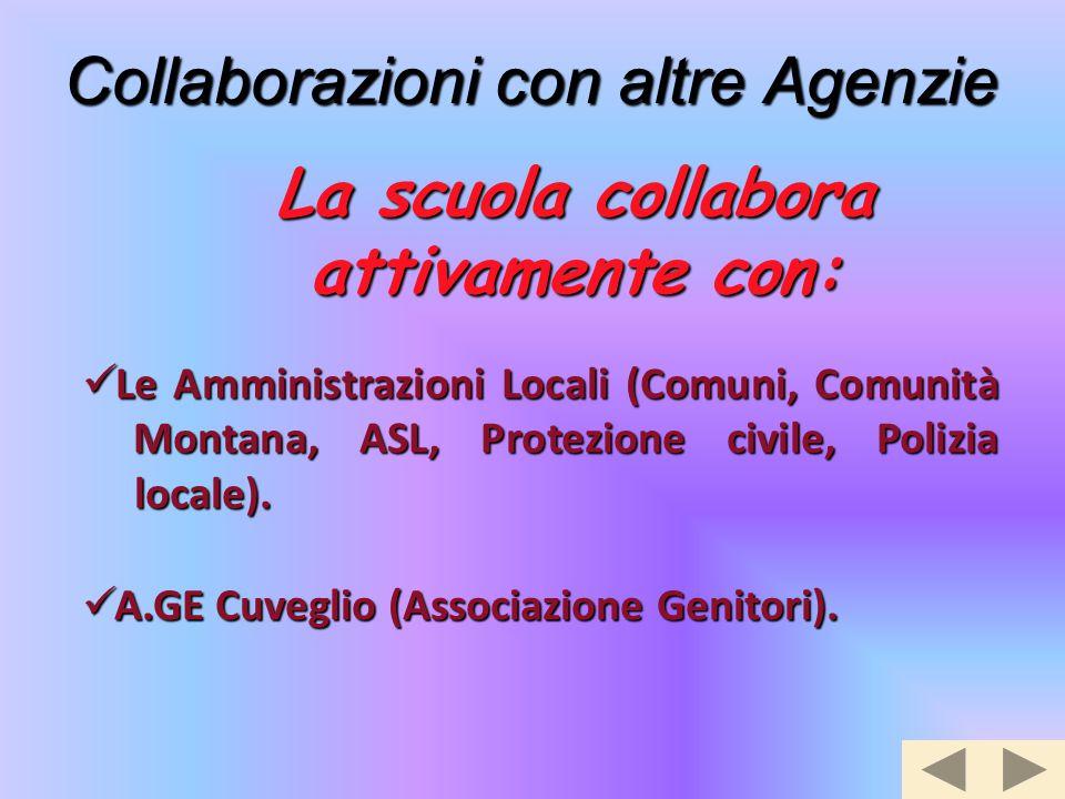 Collaborazioni con altre Agenzie A.GE Cuveglio (Associazione Genitori). A.GE Cuveglio (Associazione Genitori). La scuola collabora attivamente con: Le