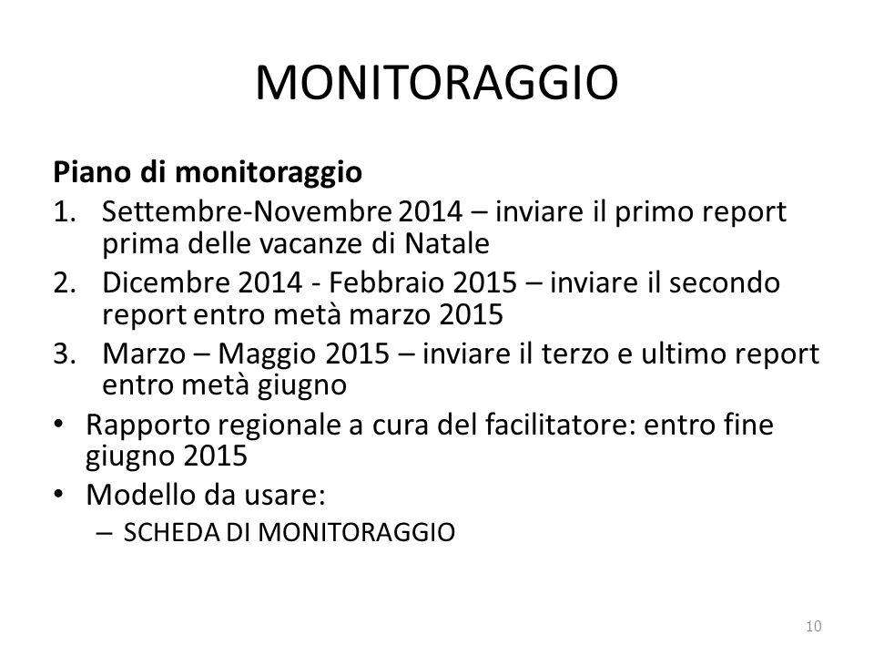 MONITORAGGIO Piano di monitoraggio 1.Settembre-Novembre 2014 – inviare il primo report prima delle vacanze di Natale 2.Dicembre 2014 - Febbraio 2015 –