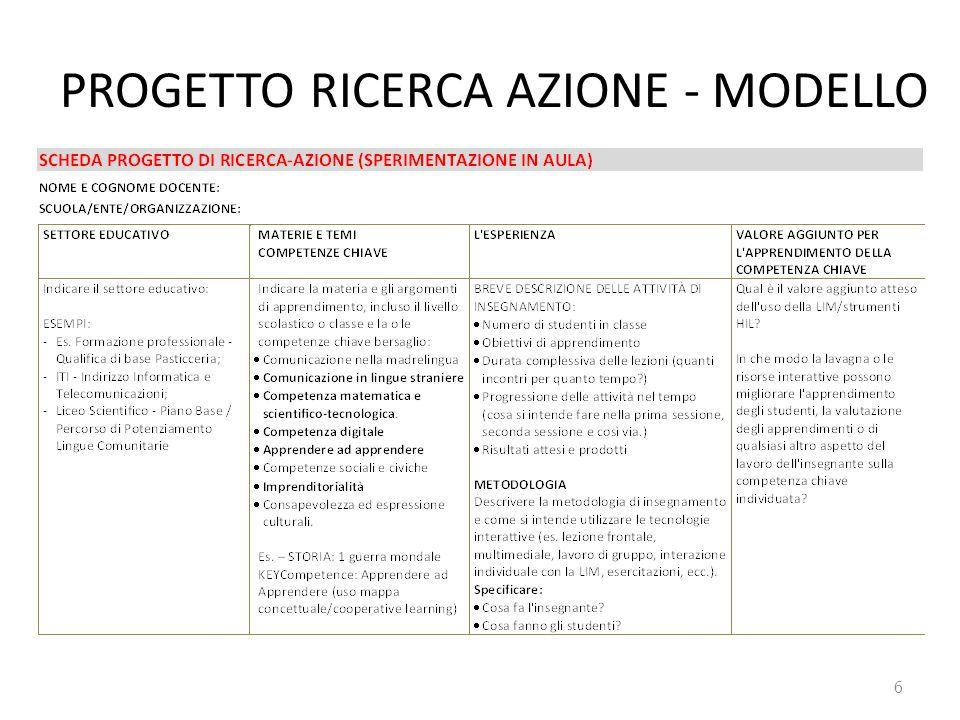 PROGETTO RICERCA AZIONE - MODELLO 6