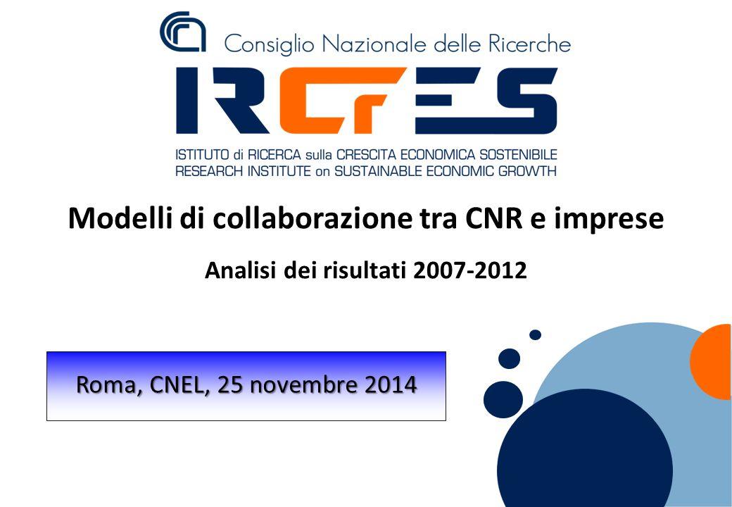 Modelli di collaborazione tra CNR e imprese Analisi dei risultati 2007-2012 Roma, CNEL, 25 novembre 2014