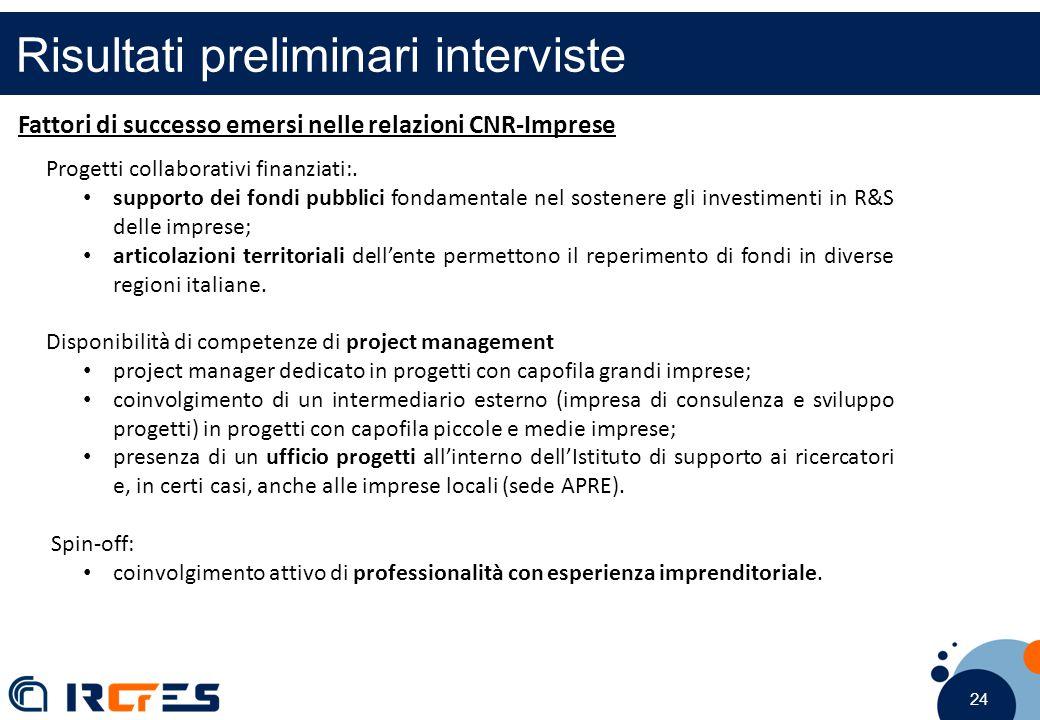 24 Risultati preliminari interviste Fattori di successo emersi nelle relazioni CNR-Imprese Progetti collaborativi finanziati:. supporto dei fondi pubb