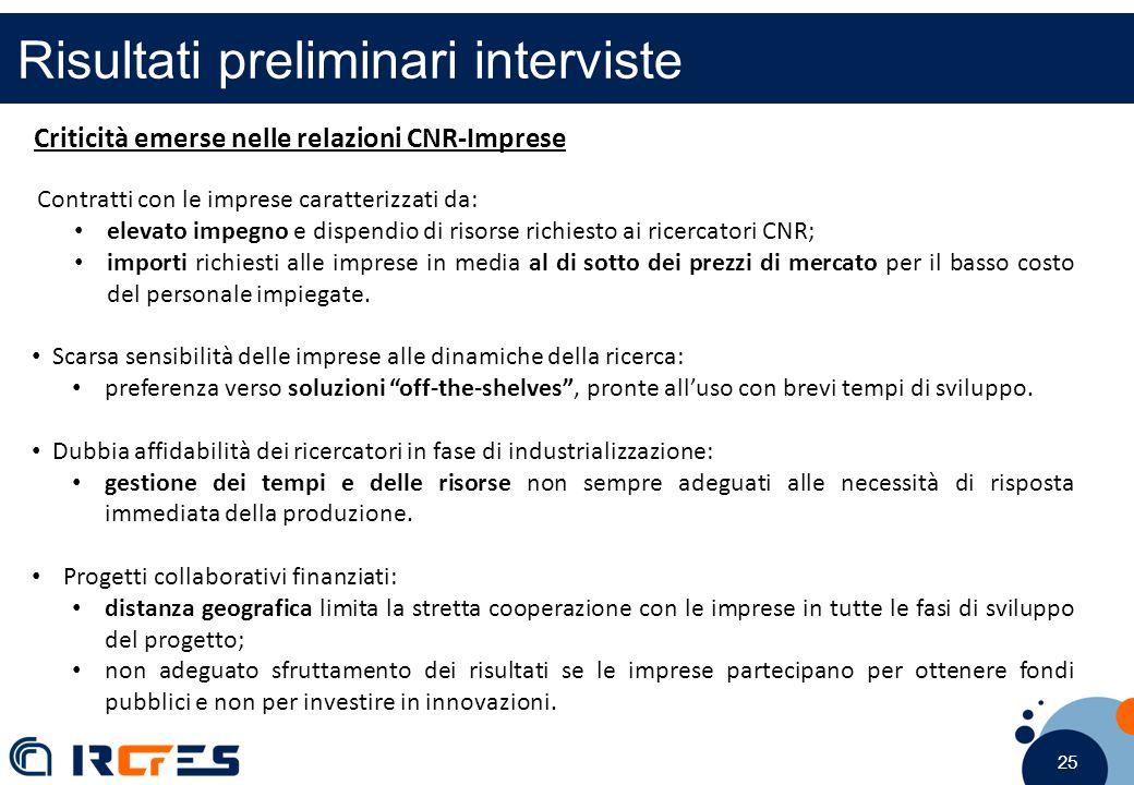25 Risultati preliminari interviste Criticità emerse nelle relazioni CNR-Imprese Contratti con le imprese caratterizzati da: elevato impegno e dispend