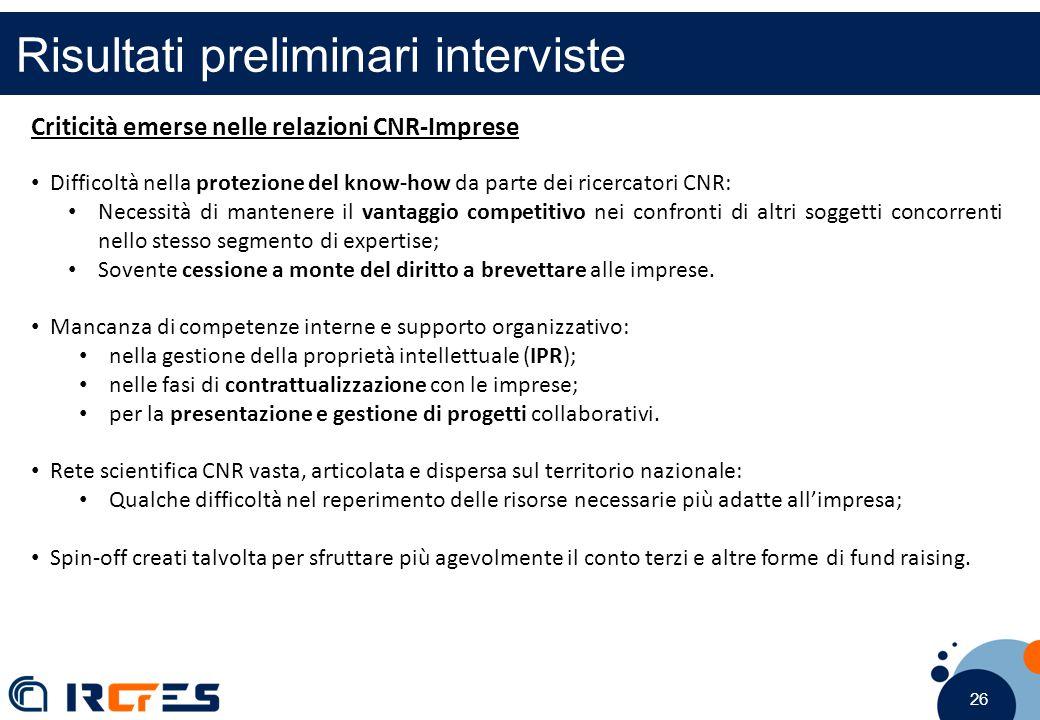 26 Risultati preliminari interviste Criticità emerse nelle relazioni CNR-Imprese Difficoltà nella protezione del know-how da parte dei ricercatori CNR