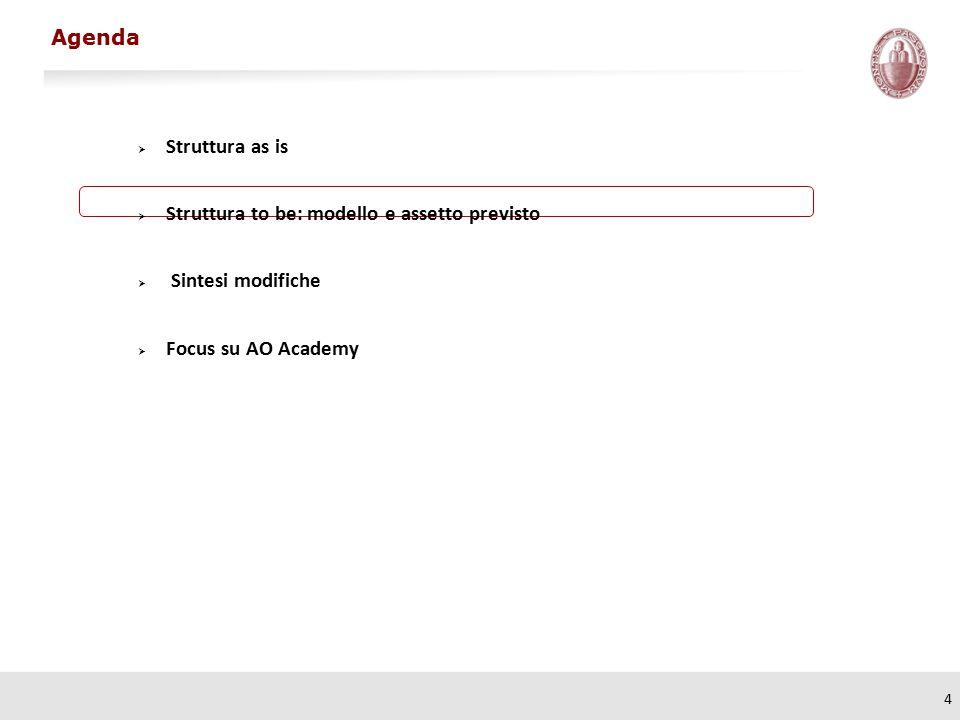 4  Struttura as is  Struttura to be: modello e assetto previsto  Sintesi modifiche  Focus su AO Academy Agenda