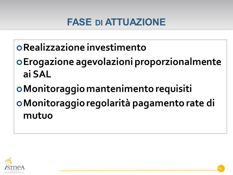 FASE DI ATTUAZIONE Realizzazione investimento Erogazione agevolazioni proporzionalmente ai SAL Monitoraggio mantenimento requisiti Monitoraggio regolarità pagamento rate di mutuo 14