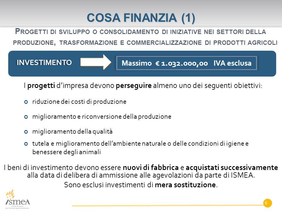 I beni di investimento devono essere nuovi di fabbrica e acquistati successivamente alla data di delibera di ammissione alle agevolazioni da parte di ISMEA.