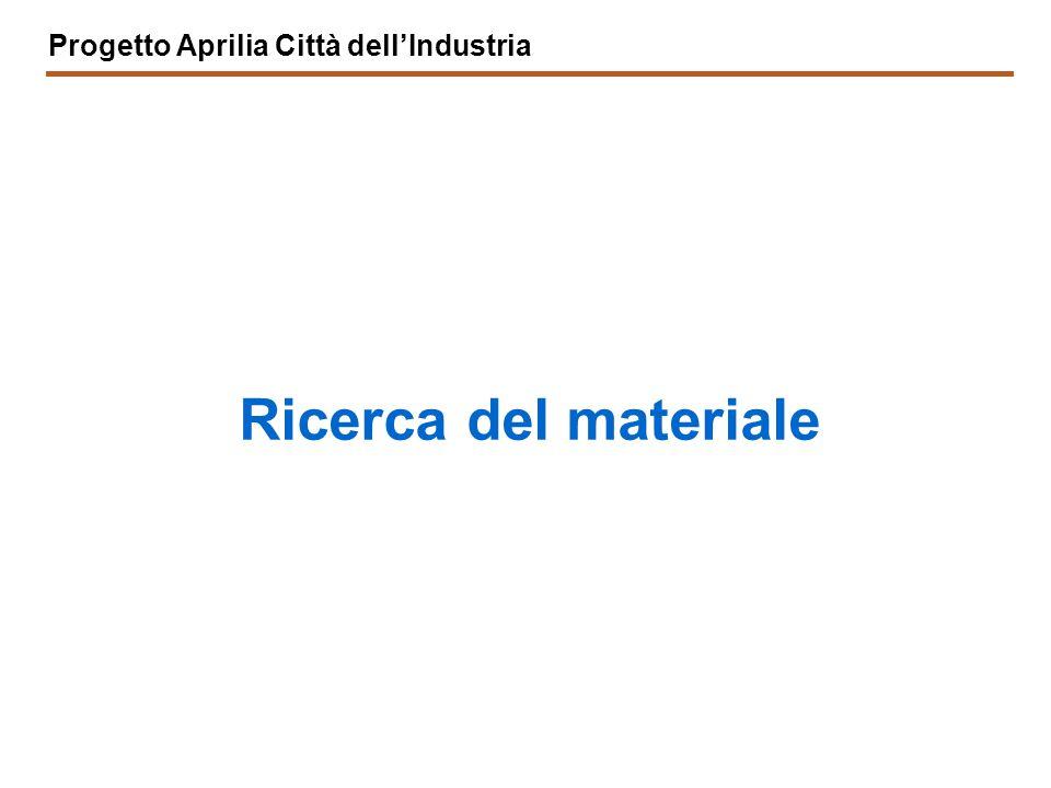 Progetto Aprilia Città dell'Industria Ricerca del materiale