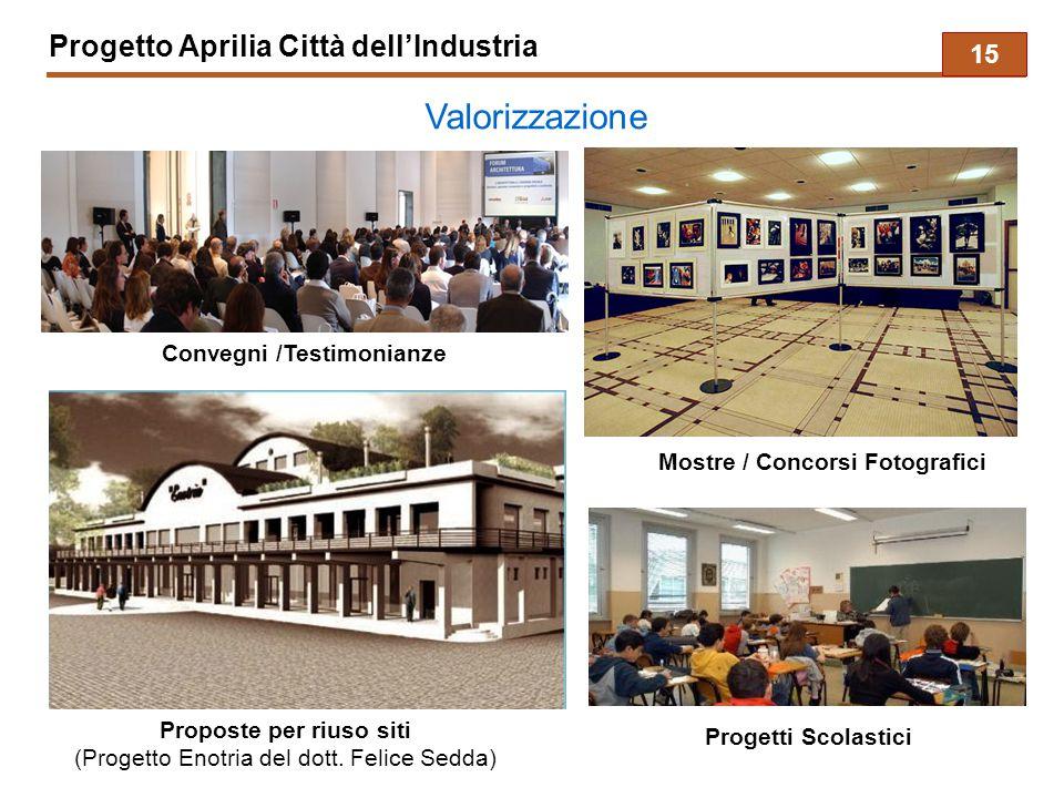 Progetto Aprilia Città dell'Industria Valorizzazione Proposte per riuso siti (Progetto Enotria del dott. Felice Sedda) Mostre / Concorsi Fotografici C