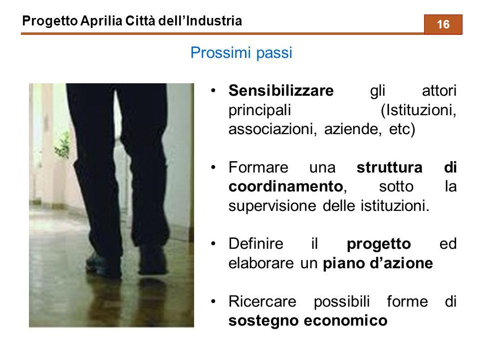 Progetto Aprilia Città dell'Industria Prossimi passi Sensibilizzare gli attori principali (Istituzioni, associazioni, aziende, etc) Formare una struttura di coordinamento, sotto la supervisione delle istituzioni.