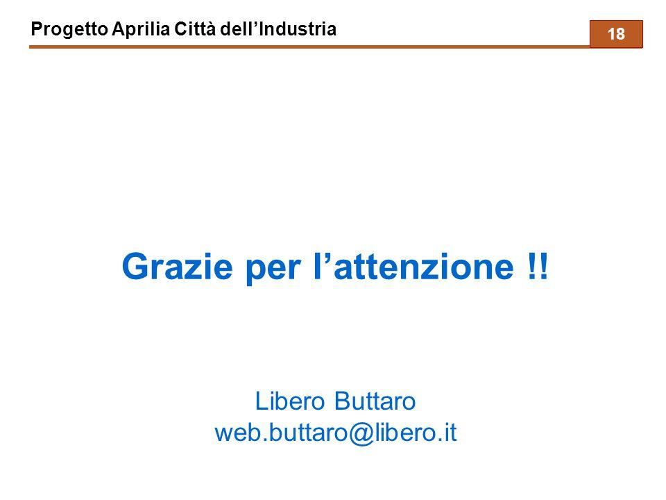 Progetto Aprilia Città dell'Industria Grazie per l'attenzione !! Libero Buttaro web.buttaro@libero.it 18