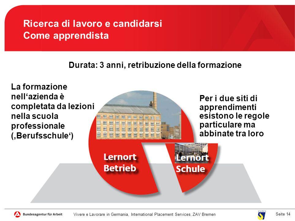 Seite 14 Ricerca di lavoro e candidarsi Come apprendista La formazione nell'azienda è completata da lezioni nella scuola professionale ('Berufsschule'