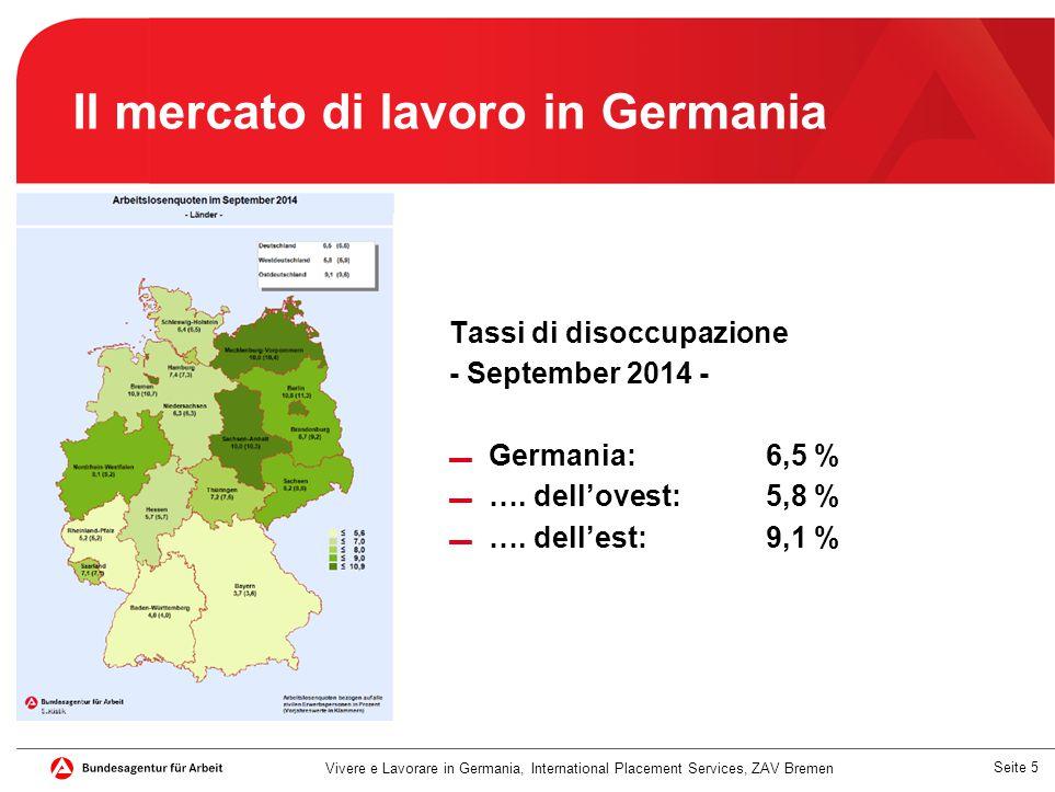 Seite 5 Il mercato di lavoro in Germania Tassi di disoccupazione - September 2014 - ▬ Germania: 6,5 % ▬ …. dell'ovest:5,8 % ▬ …. dell'est:9,1 % Vivere