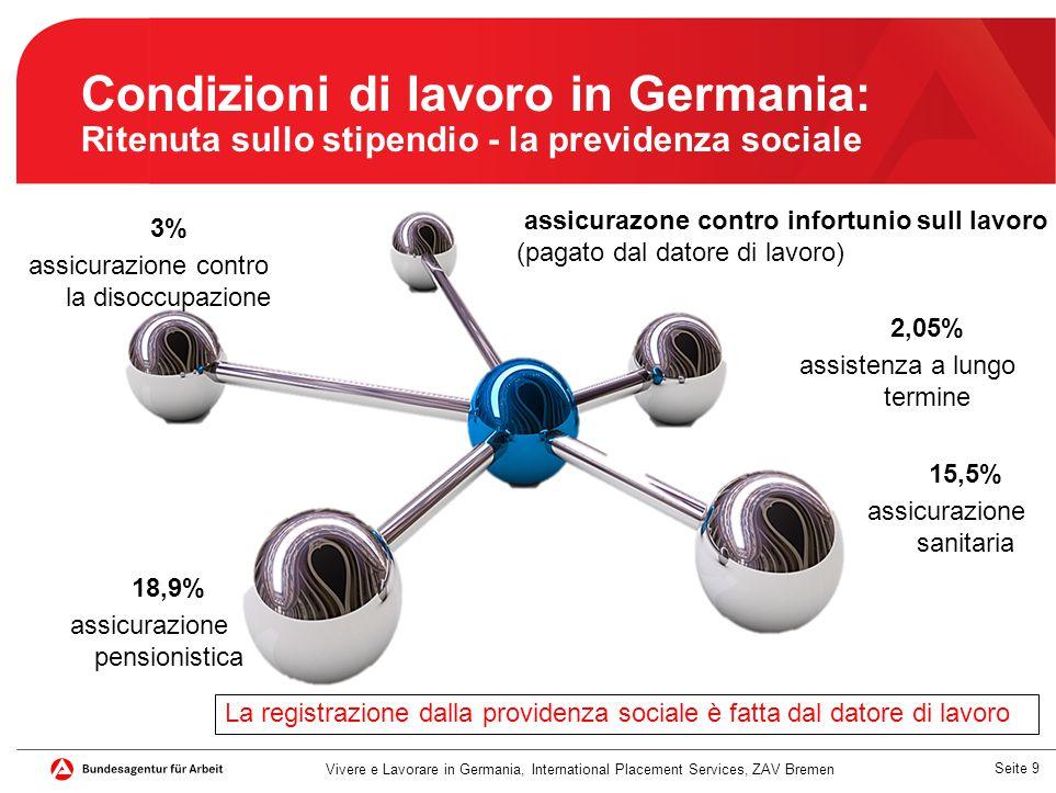 Seite 10 Condizioni di lavoro in Germania: Ritenuta sullo stipendio - le tasse Contributi sociali e tasse sono detratti automaticamente.