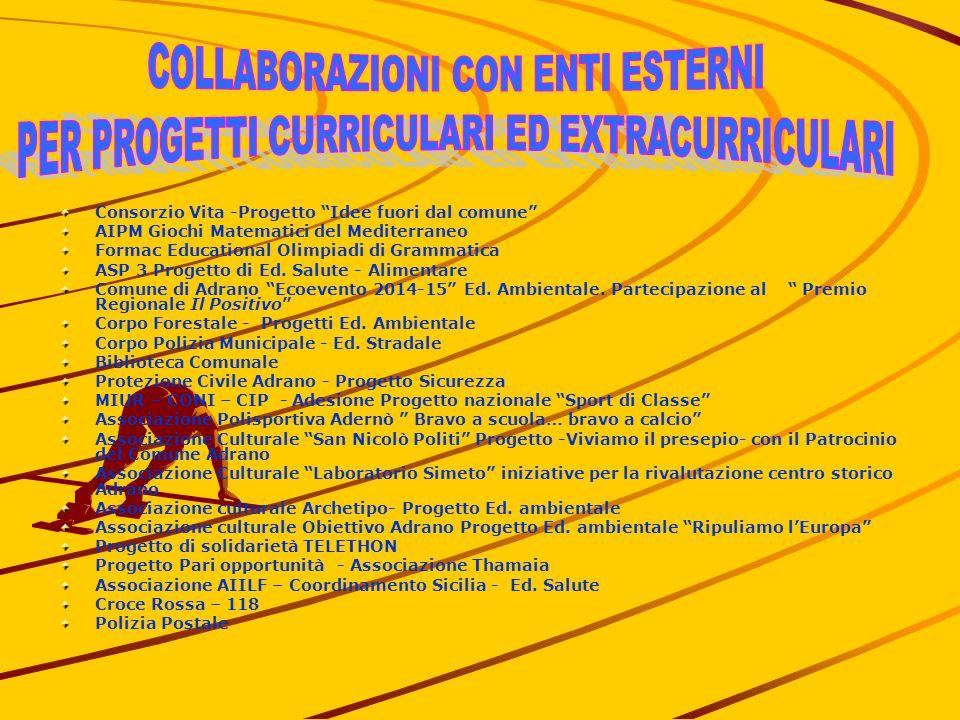 Consorzio Vita -Progetto Idee fuori dal comune AIPM Giochi Matematici del Mediterraneo Formac Educational Olimpiadi di Grammatica ASP 3 Progetto di Ed.