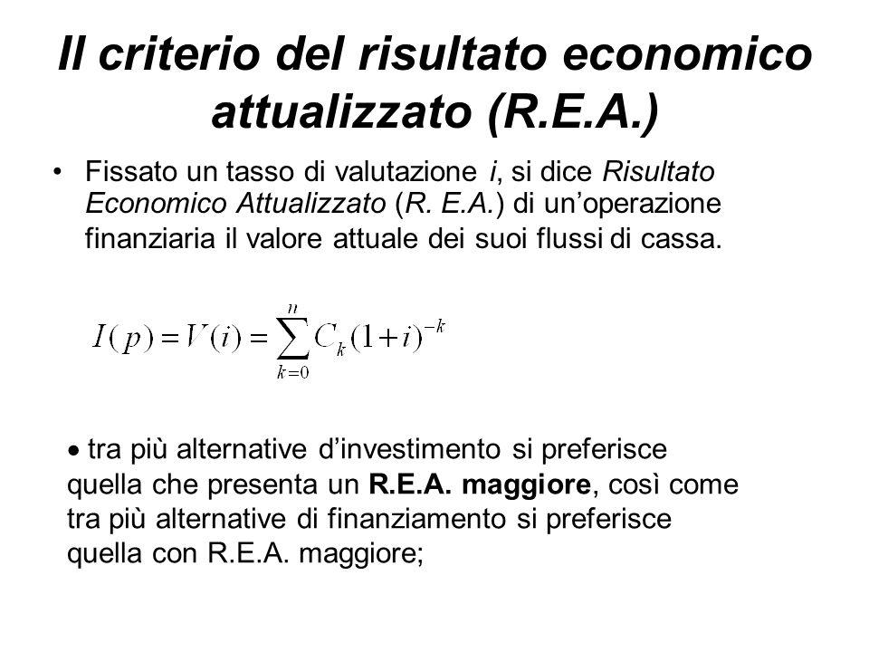 Il criterio del risultato economico attualizzato (R.E.A.) Fissato un tasso di valutazione i, si dice Risultato Economico Attualizzato (R. E.A.) di un'