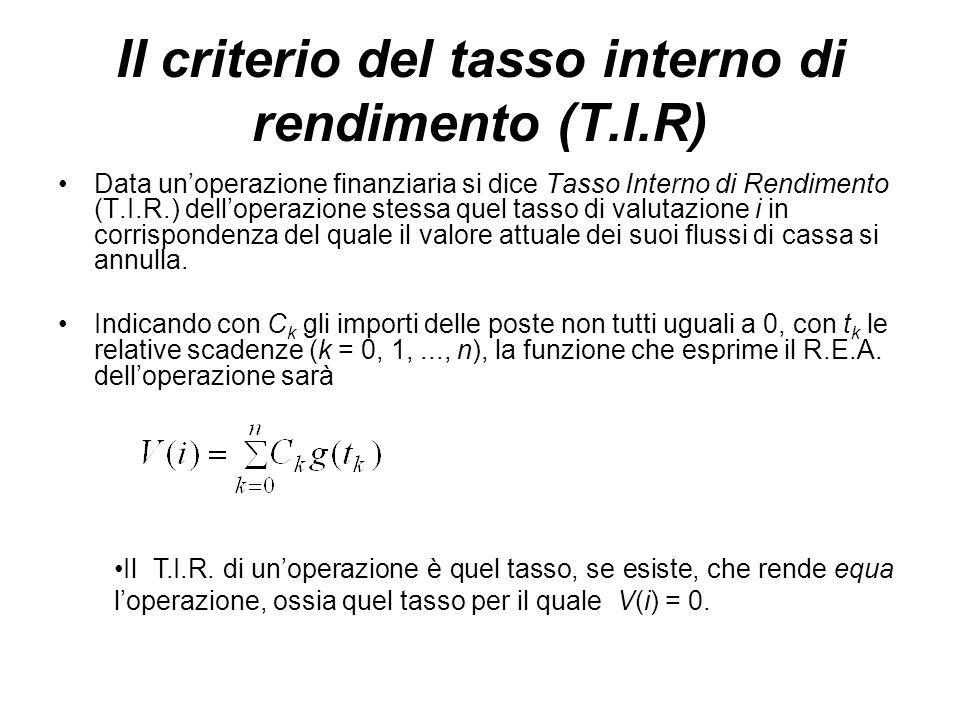 Il criterio del tasso interno di rendimento (T.I.R) Data un'operazione finanziaria si dice Tasso Interno di Rendimento (T.I.R.) dell'operazione stessa