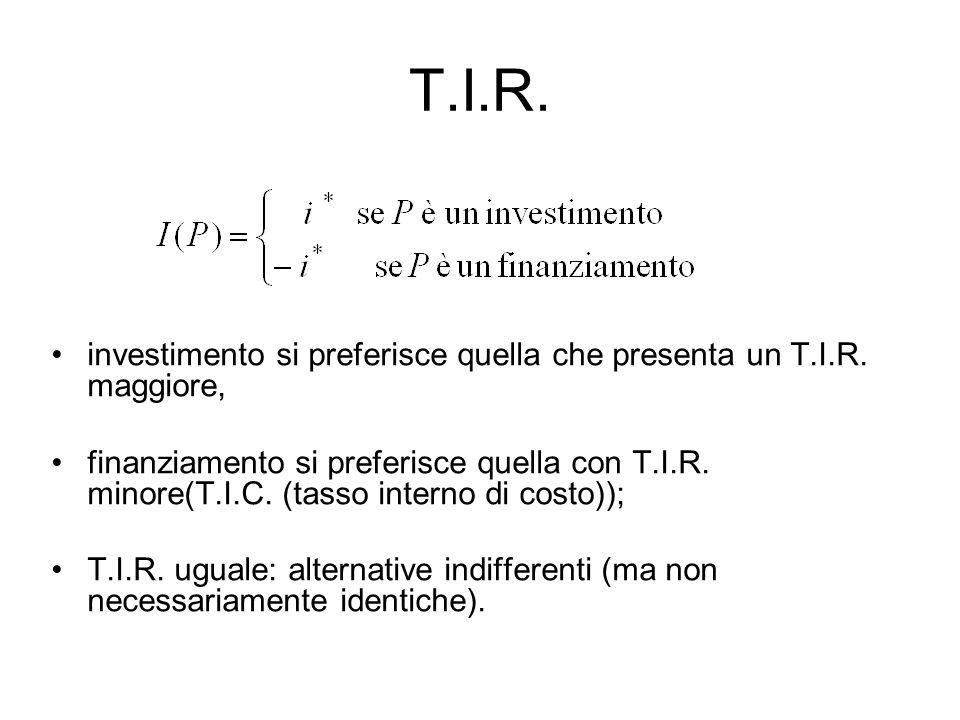 T.I.R. investimento si preferisce quella che presenta un T.I.R. maggiore, finanziamento si preferisce quella con T.I.R. minore(T.I.C. (tasso interno d