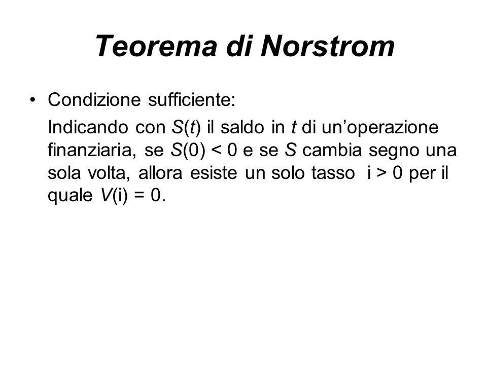 Teorema di Norstrom Condizione sufficiente: Indicando con S(t) il saldo in t di un'operazione finanziaria, se S(0) 0 per il quale V(i) = 0.