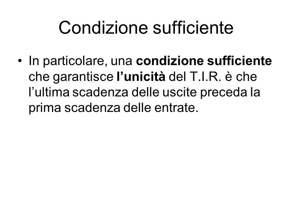 Condizione sufficiente In particolare, una condizione sufficiente che garantisce l'unicità del T.I.R. è che l'ultima scadenza delle uscite preceda la