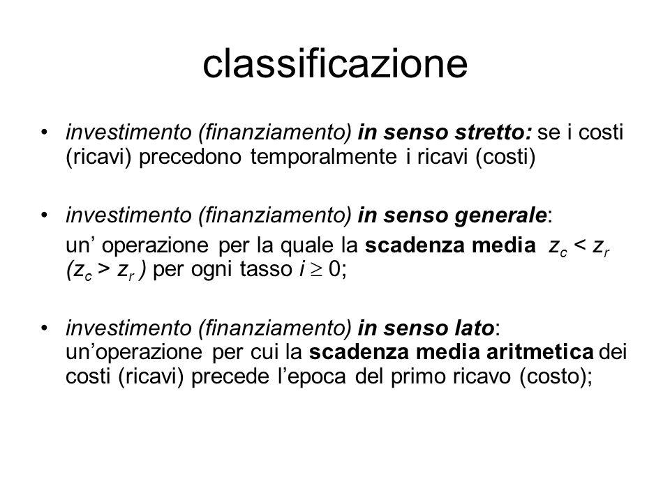 classificazione investimento (finanziamento) in senso stretto: se i costi (ricavi) precedono temporalmente i ricavi (costi) investimento (finanziament