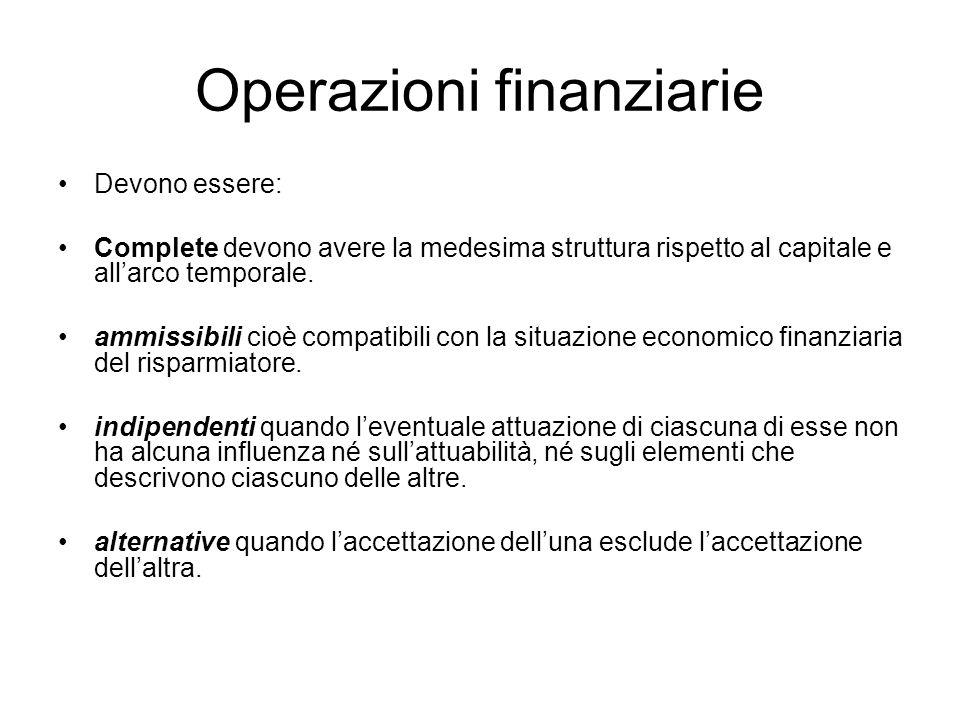 Operazioni finanziarie Devono essere: Complete devono avere la medesima struttura rispetto al capitale e all'arco temporale. ammissibili cioè compatib