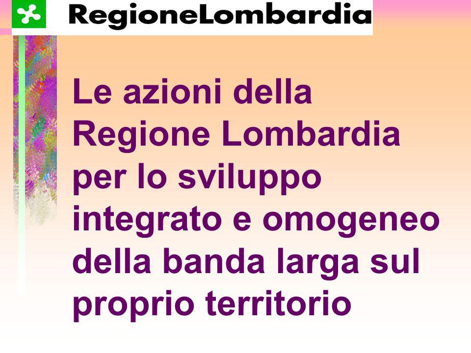 La situazione lombarda Milano: una grande città cablata Diversi centri urbani sono parzialmente cablati Molte zone agricole e montane non dispongono di progetti di connessione