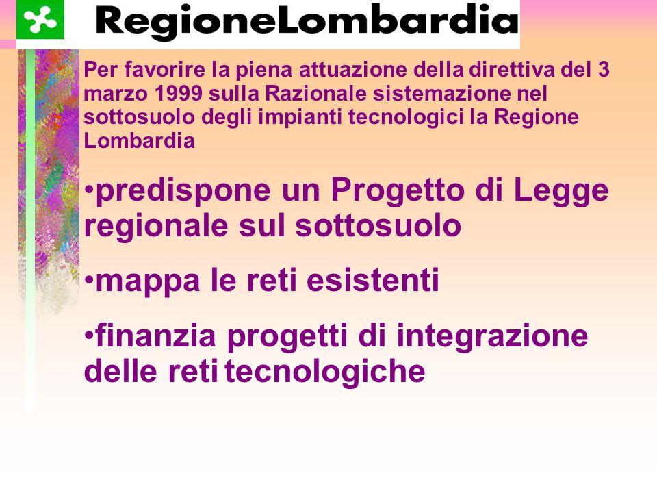 Per favorire la piena attuazione della direttiva del 3 marzo 1999 sulla Razionale sistemazione nel sottosuolo degli impianti tecnologici la Regione Lombardia predispone un Progetto di Legge regionale sul sottosuolo mappa le reti esistenti finanzia progetti di integrazione delle reti tecnologiche
