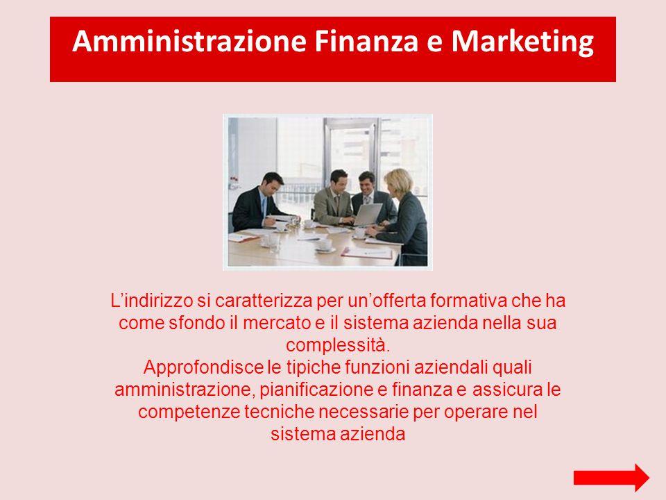 Amministrazione Finanza e Marketing L'indirizzo si caratterizza per un'offerta formativa che ha come sfondo il mercato e il sistema azienda nella sua