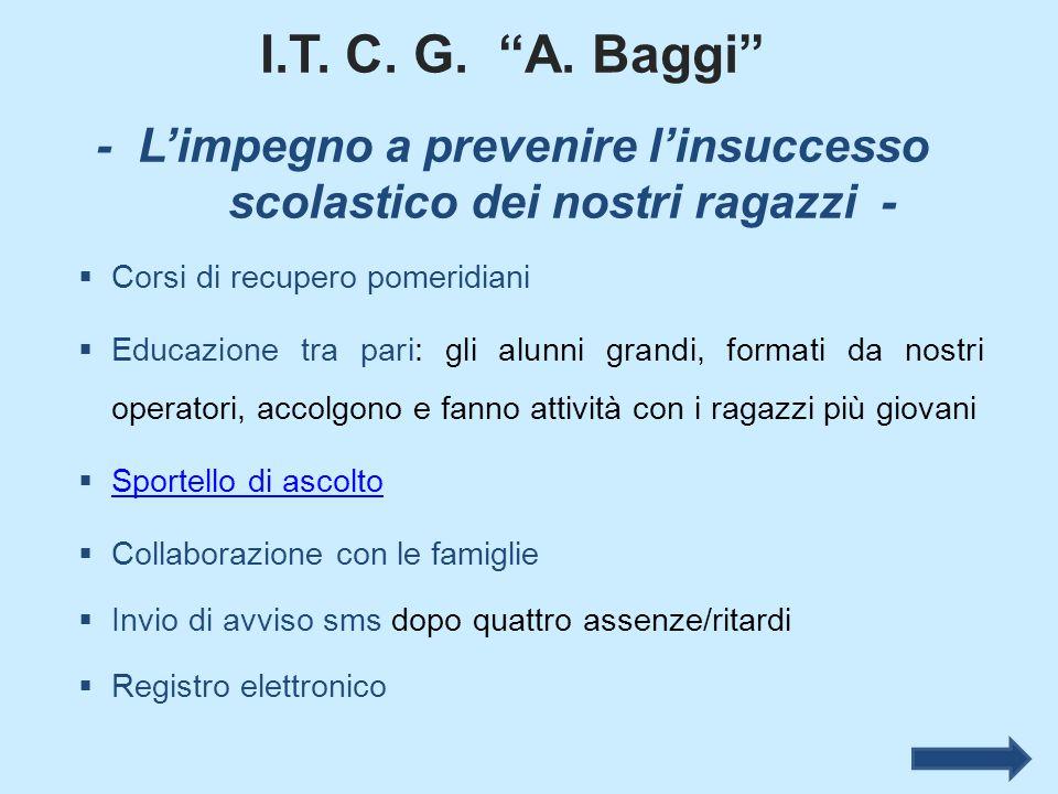 """I.T. C. G. """"A. Baggi"""" - L'impegno a prevenire l'insuccesso scolastico dei nostri ragazzi -  Corsi di recupero pomeridiani  Educazione tra pari: gli"""