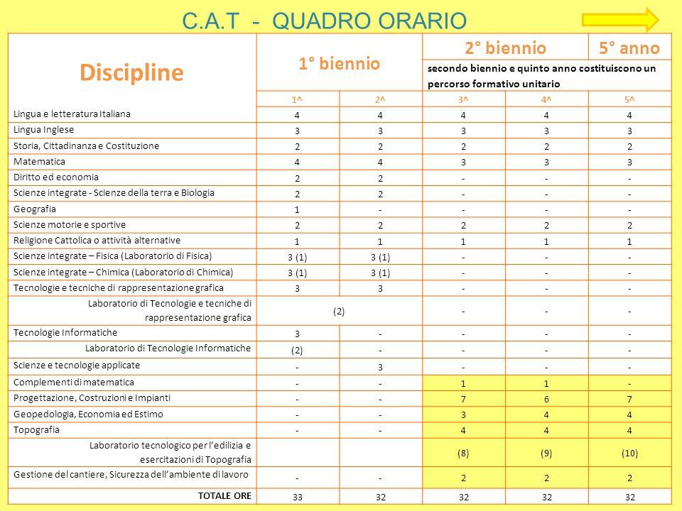 C.A.T - QUADRO ORARIO Discipline 1° biennio 2° biennio5° anno secondo biennio e quinto anno costituiscono un percorso formativo unitario 1^2^3^4^5^ Li